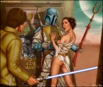 1girl 2boys boba_fett dress exposed_breast lightsaber luke_skywalker partially_clothed princess_leia_organa shabby_blue sideboob star_wars torn_dress