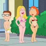 american_dad bikini breasts crossover family_guy francine_smith frost969 lois_griffin steve_smith tan_line thighs