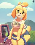 1girl 2019 absurd_res animal_crossing anthro anthrofied belly bra canid canine canis car clothed clothing cloud cutoffs denim_shorts dog duo english_text female_focus fupa furry high_res hose isabelle_(animal_crossing) looking_at_viewer male mammal mature_male nintendo old open_mouth outside peculiart reptile scalie sheer_clothing shih_tzu shirt shorts signature sky slightly_chubby solo_focus text tight_clothing tortimer_(animal_crossing) tortoise translucent transparent_clothing turtle underwear vehicle video_games water wet wet_clothing wet_shirt