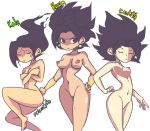 1girl 3_girls absurd_res areola artist_name barefoot black_eyes black_hair breasts caulifla character_name closed_eyes covering_breasts dragon_ball dragon_ball_super drawn earrings feet female_only front_view hairless_pussy hand_on_hip high_res kale kefla medium_breasts multiple_girls nipples nude palesmoke perky_breasts potara_earrings pussy saiyan small_breasts smile soles toes trio vambraces white_background