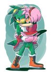 1girl amy_rose anthro ass boots clothing dress feathers footwear fur furry gloves headgear jet_the_hawk male male/female penetration rexin sega sonic_riders vaginal vaginal_penetration