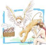 1boy 4girls blush box breasts child egyptian_mythology extra_breasts furry greek_mythology monster_girl multi_breast multiple_breasts multiple_girls mythology nipples sphinx wings