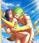 1girl animal_ears artist_request bent_over breast_grab breasts cat from_behind furry grabbing muscle nico_robin nipples nude one_piece outdoors outside penis pubic_hair pussy roronoa_zoro sex tail tiger tongue vaginal yellow_eyes