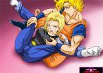 1boy 1girl android_18 dragon_ball_super dragon_ball_z ero_shocker son_goku