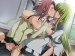 1boy 2girls aquamu artist_request between_breasts bisexual breasts c.c. cc censored code_geass cunnilingus facesitting green_hair group_sex kallen_stadtfeld large_breasts lelouch_lamperouge long_hair multiple_girls necktie nipples open_clothes open_shirt oral penis pussylicking red_hair reverse_spitroast sex shirt short_hair sitting sitting_on_face sitting_on_person straddle straddling sweat threesome tongue vaginal yamagarasu yellow_eyes
