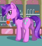 1girl amethyst_star ass cutie_mark female female_only female_unicorn friendship_is_magic horn indoors lollipop looking_at_viewer my_little_pony negasun_(artist) nude open_mouth pony pussy solo standing tail tongue_out unicorn