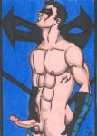 1boy christian dc human male male_only masturbation muscle nightwing solo_focus tagme