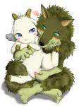 arashi_no_yoru_ni blue_eyes furry gabu gabu_(arashi_no_yoru_ni) genderswap goat green_eyes mei mei_(arashi_no_yoru_ni) rule_63 size_difference stormy_night wolf