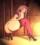 1girl artist_request ass code_geass cornelia_li_britannia high_heels long_hair panties purple_eyes purple_hair shoes solo source_request thighhighs thong topless underwear