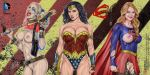 1girl 3_girls 3girls actress armando_huerta ass bare_shoulders baseball_bat batman_(series) batman_v_superman belly belt biceps big_breasts black_hair blonde_hair blue_eyes blue_hair bracelet breasts cameltoe cape celeb celebrity choker cleavage clothed clothes colorized covered_nipples dc dc_comics dceu diana_prince earrings erect_nipples eyelashes female fingerless_gloves gal_gadot gloves gun harley_quinn high_resolution holster jewelry kara_danvers kara_zor-el large_breasts lasso legs lips lipstick long_hair looking_at_viewer makeup margot_robbie melissa_benoist multicolored_hair multiple_girls nail_polish name_your_order navel nipples open_mouth outfit panties pantyhose piercing pink_hair pussy red_lips red_lipstick rope shirt shoulder shoulders skirt spiked_bracelet spikes suicide_squad supergirl superman_(series) tattoo tattoos teeth thighs tiara tied_hair tongue torn_clothes torn_pantyhose twin_tails twintails vagina weapon wonder_woman wonder_woman_(series)
