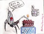 automated_turret cake portal_(series) portal_(video_game) text weighted_companion_cube